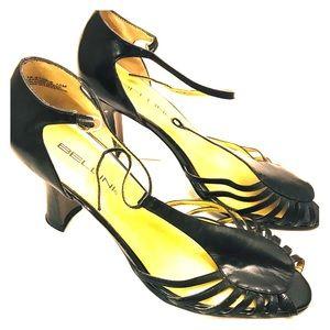 Retro 1930s Style Black Cutout T-Strap Heels 10M